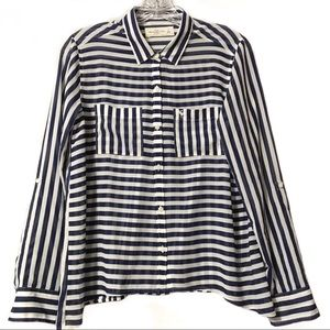 Abercrombie & Fitch navy white striped top small